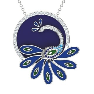 "Solid Sterling Silver Multi-Gemstone Enamel Peacock 18"" Cable Chain with Swiss Blue Topaz & Cubic Zirconia on Side"