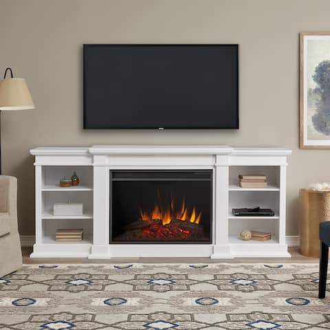Eliot Grand Electric Entertainment Fireplace in White by Real Flame - 81.125L x 19W x 34.25H