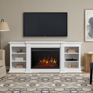 Real Flame Eliot Grand White Wooden Electric Entertainment Fireplace