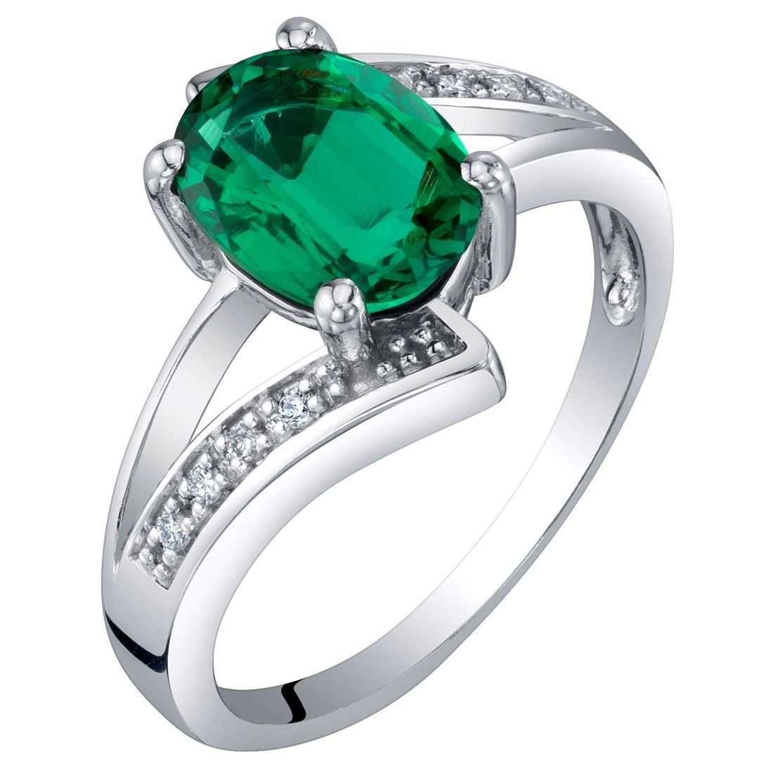 14K White Gold Diamond /& Oval Emerald May Stone Ring Size 7