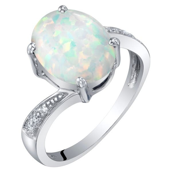 1305c61a846267 14K Gold Created Opal and Diamond Solitaire Ring 1.25 Carats Oval Shape