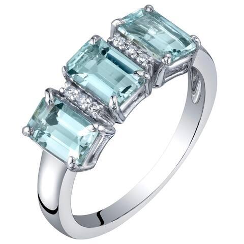 14K White Gold Genuine Aquamarine and Diamond Three Stone Ring 1.50 Carats