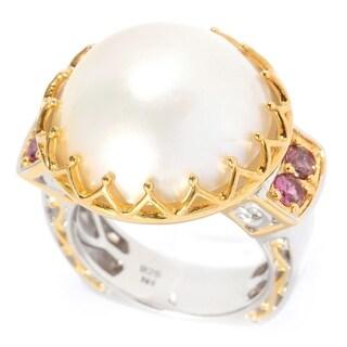 Michael Valitutti Palladium Silver White Mabe Pearl & Pink Tourmaline Ring