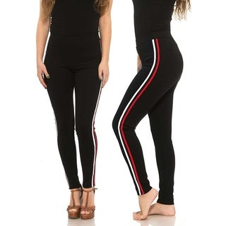 Missy Bottom Lifting Ponte Pants With Double Side Stripes Red and White