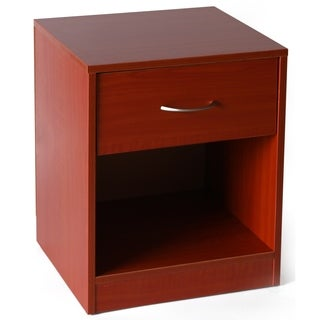 Cherry Wooden Nightstand with Drawer and Shelf Storage