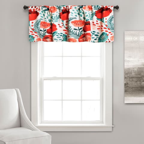 Porch & Den Egger Poppy Pattern Room Darkening Window Curtain Valance