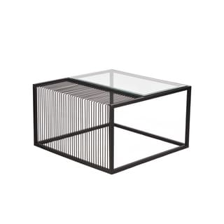 Git Mit Home Iron Black Powder Coated Rectangular Coffee Cocktail Table with Glass Top