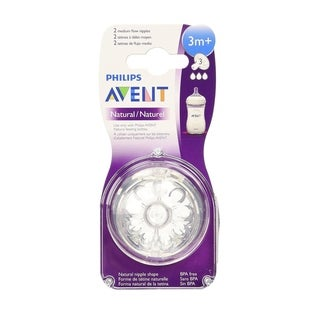 Philips AVENT SCF653/27 BPA Free Natural Nipple Shape, Medium Flow 3m+, 2 Count
