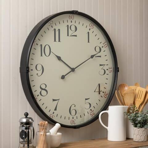 """Sigmund Black 26.25"""" Diameter Kitchen Wall Clock"""