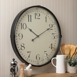 "Sigmund Black 26.25"" Diameter Kitchen Wall Clock"