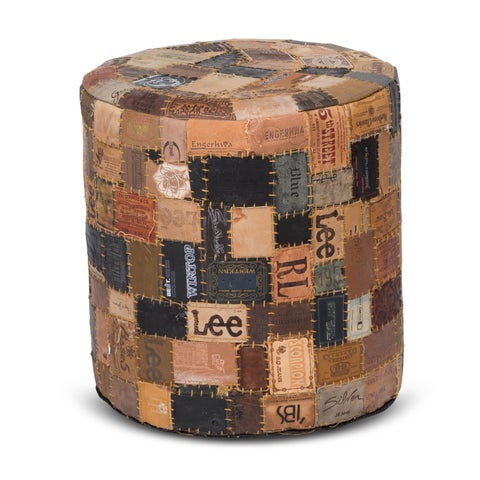 Up-cycled Jean Label Modern Rustic Multicolor Leather Rounded Pouf