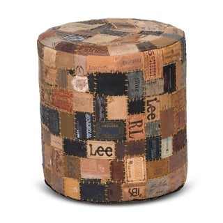 Up-cycled Jean Label MordernRustic Leather Rounded Pouf