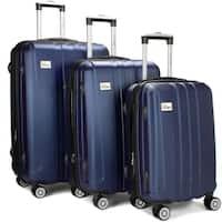 "3 Piece Expandable Hard Luggage Set with Lock - 20"", 24"", 28""  - Blue"