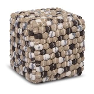 Stone Brown/Beige/White Wool Handmade Square Ottoman Pouf