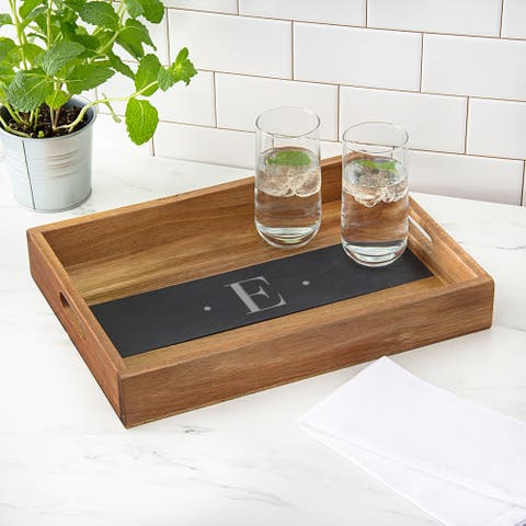 Personalized Acacia and Slate Tray