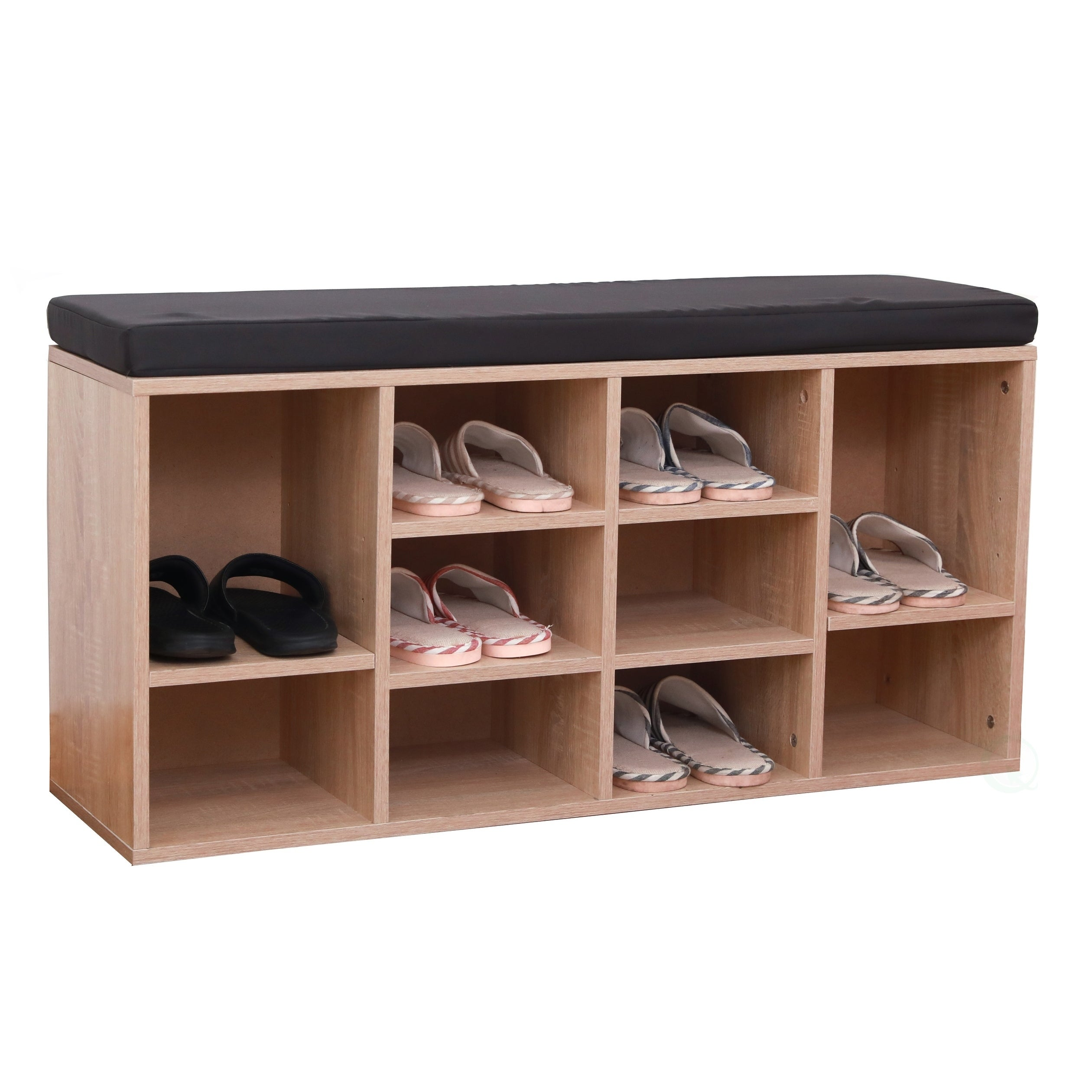 Shoe Bench Seat Rack Wood Entryway Organizer Wooden Brown Large Storage Closet