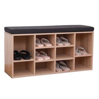 Natural Wooden Shoe Cubicle Storage Entryway Bench with Soft Cushion for Seating