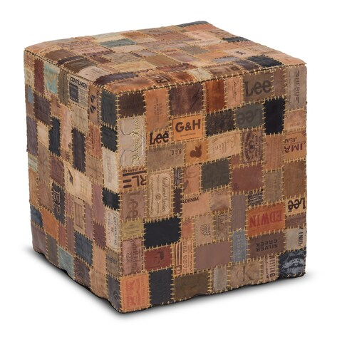 Up-cycled Jean Label Modern Rustic Multicolor Leather Square Cube Pouf