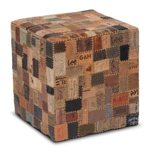 Up-cycled Jean Label Mordern Rustic Leather Square Cube Pouf