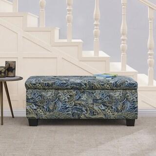 Handy Living LaSalle Blue Paisley Velvet Tufted Wall Hugger Storage Ottoman