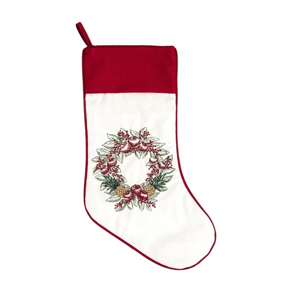 Embroidered Christmas Stockings.Charleston Wreath Embroidered Christmas Stocking