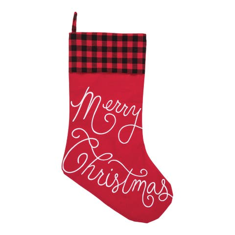 Oakley Plaid Merry Christmas Embroiderd Stocking