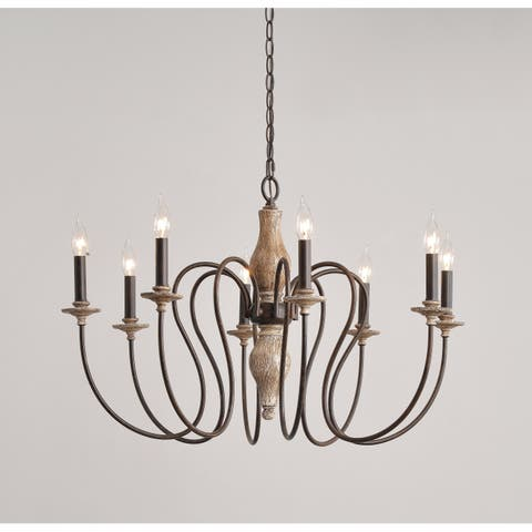 Ellie 20-inch Weathered White with Gold Highlights 8 Light Chandelier