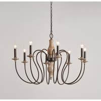 Ellie Weathered White with Gold Highlights 8-Light Chandelier