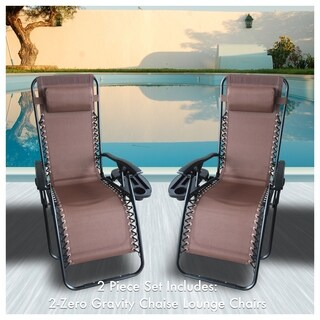 Zero Gravity Recliner / Lounger & Cup Holder in Brown Mesh Fabric 2Pk.