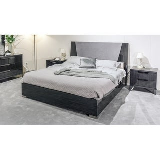 Weathered Gray Lacquer Platform Bed