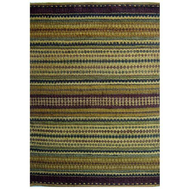 Hand-woven Sindhi Multi Cream Jute Rug (5' x 8') - 5' x 8'