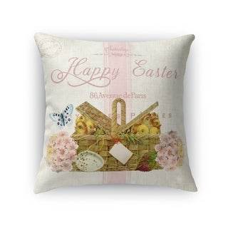 HAPPY EASTER WITH BASKET OF CHICS Throw Pillow By Kavka Designs