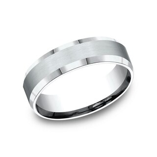 10K White Gold 6mm Men's Satin Finished Beveled Edge Comfort-Fit Wedding Band