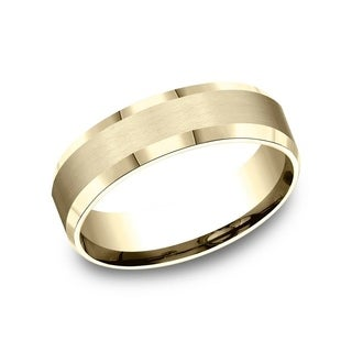 10K Yellow Gold 6mm Men's Satin Finished Beveled Edge Comfort-Fit Wedding Band