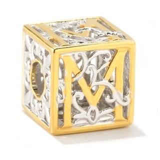 Michael Valitutti Palladium Silver Two-tone Initial M Cube Slide-on Charm