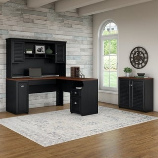 Bush Furniture Fairview 60W L Shaped Desk with Hutch and Small Storage Cabinet in Antique Black and Hansen Cherry