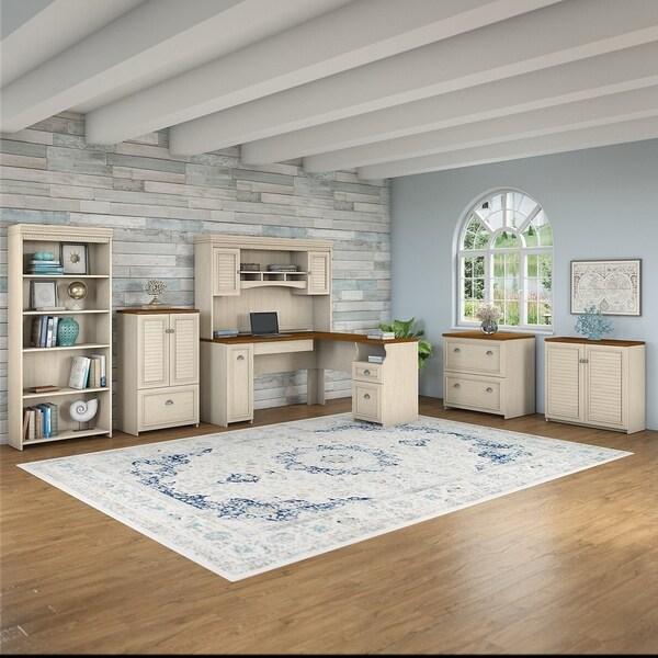 Shop Copper Grove Khashuri L Shaped White Maple Desk Hutch