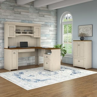 Bush Furniture Fairview 60W L Shaped Desk with Hutch and Storage Cabinet with Drawer in Antique White and Tea Maple