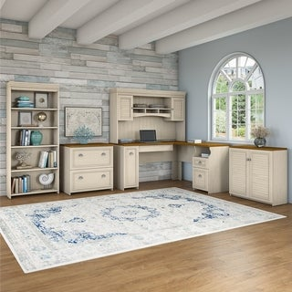 Copper Grove Khashuri L-shaped White/Maple Desk/Hutch/Cabinets/Bookcase