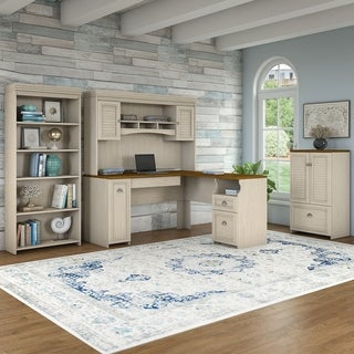 Bush Furniture Fairview 60W L Shaped Desk and Hutch, Storage Cabinet and 5 Shelf Bookcase in Antique White and Tea Maple