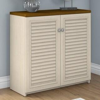 Copper Grove Samtredia 2-door Storage Cabinet in Antique White and Tea Maple (30.7 in.)