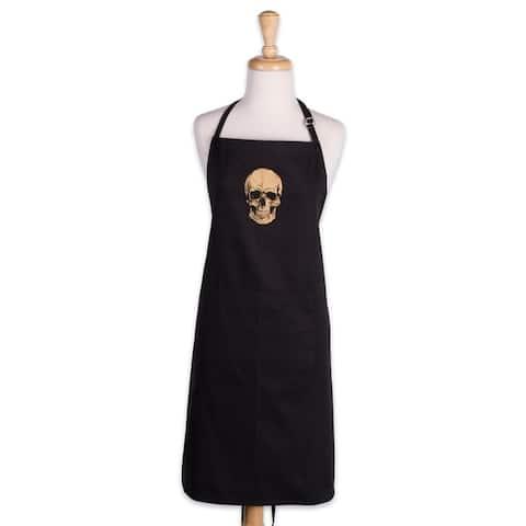Design Imports Gold Skull Print Chef Kitchen Apron