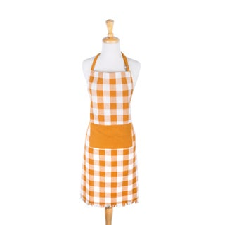 Design Imports Heavyweight Check Fringed Chef Kitchen Apron
