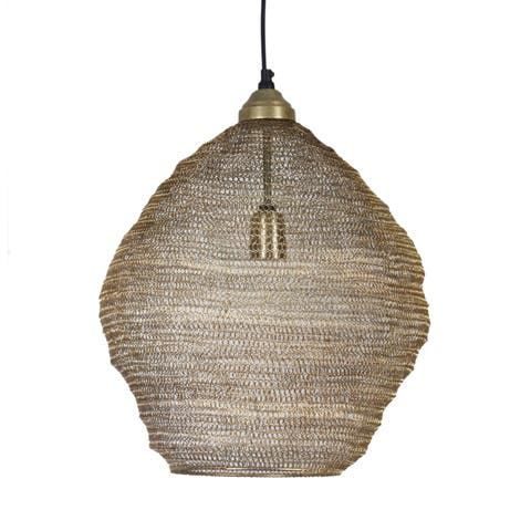 Hayes 19-inch Antique Brass Mesh 1 Light Pendant