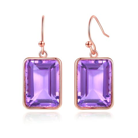 Rose Gold Plated Lab Created Emerald Cut Amethyst Drop Earrings