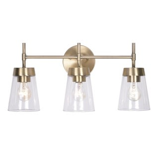 Wynn 10-inch Antique Brass and Clear Glass 3 Light Vanity
