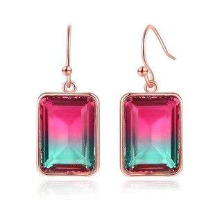 Rose Gold Plated Lab Created Emerald Cut Watermelon Tourmaline Drop Earrings
