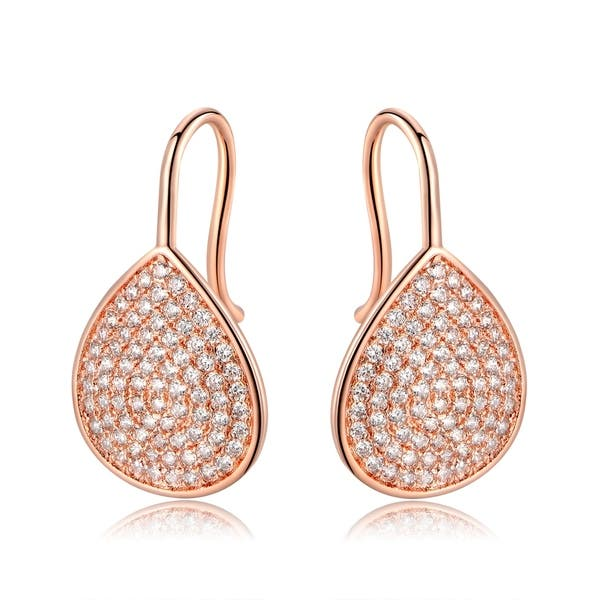 Rose Gold Plated Cubic Zirconia Earrings Overstock 22544350