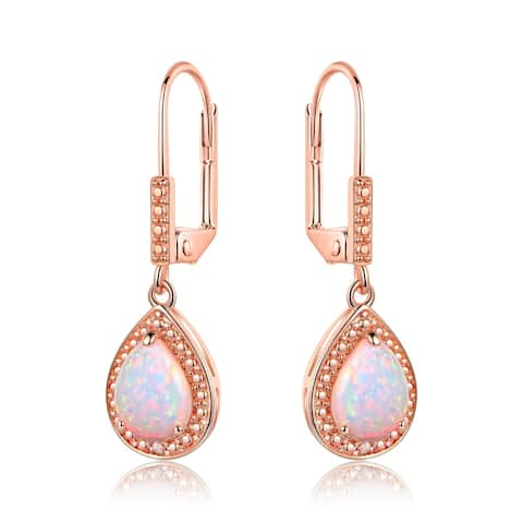 Rose Gold Plated Lab CreatedFire Opal Earrings