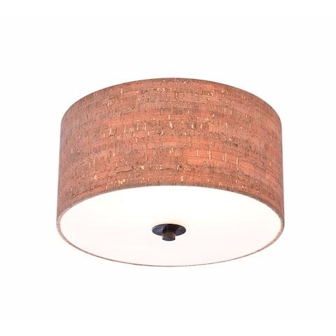 Bachman 13-inch Diameter Oil Rubbed Bronze 2 Light Flush Mount